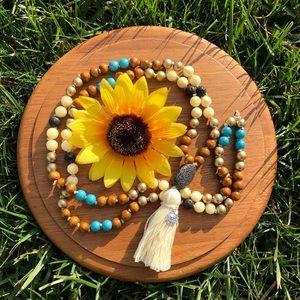 Jewelry - Sunflower Mala Beads Necklace, Tassel Jewelry
